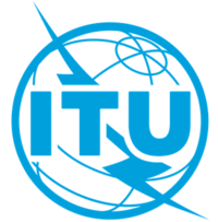 International Telecommunications Union logo, globe with stylized lightning bolt