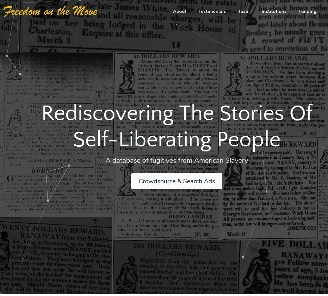 "Freedom on the Move Crowdsources ""Runaway Ads"" for Database on Fugitives from Slavery"