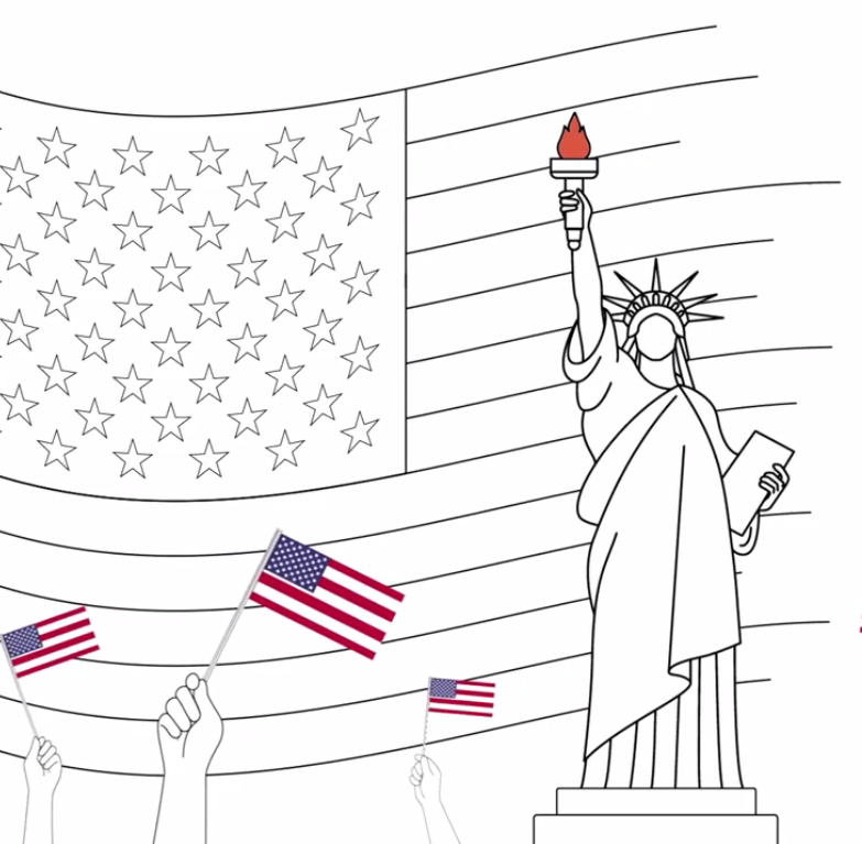Screen capture of investinlibraries.org video on Youtube. Capture includes a line drawing of the Statue of Liberty with hands waving American Flags in the foreground