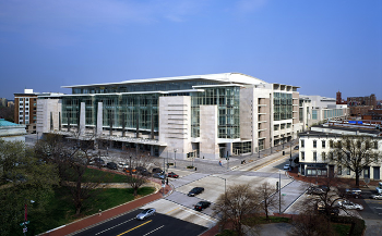 Exterior, aerial view of the Washington DC Convention Center, where the ALA annual convention was held in June, 2019