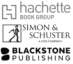 Hachette, Simon & Schuster, and Blackstone Publishing logos