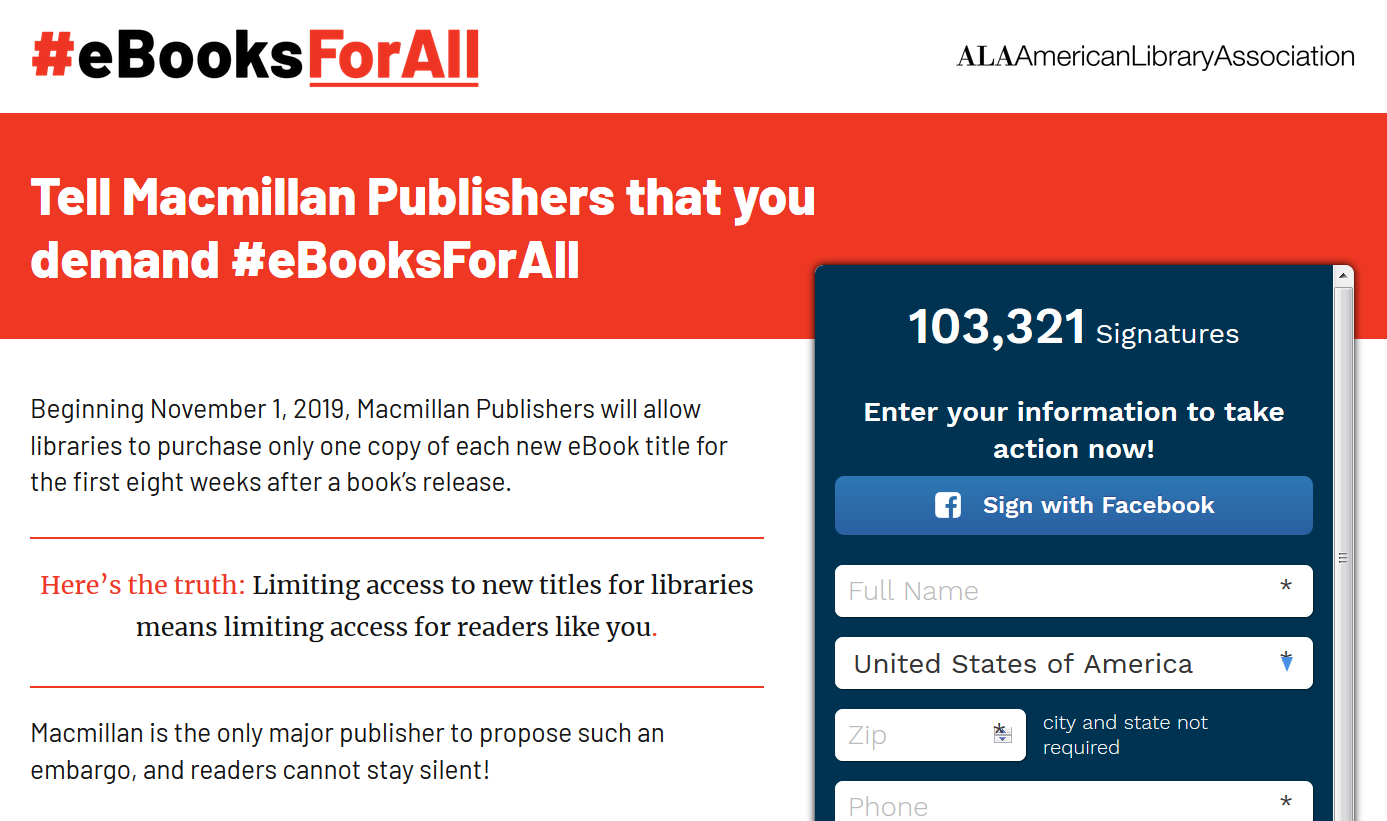 ALA's eBooksForAll Petition Exceeds 100,000 Signatures