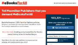 the American Library Association's eBooksForAll.org homepage with image of petition form