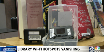 Screenshot of at TV news story on Houston PL's WiFi Hotspot losses