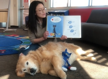 Hemi the Golden Retriever helps out with online storytime presented by Edmonton Public Library, Canada
