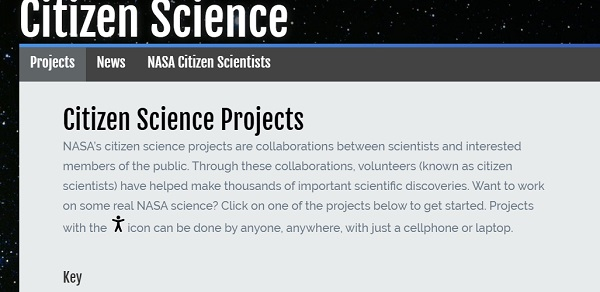 Share the Science NASA Citizen Science landing page screenshot