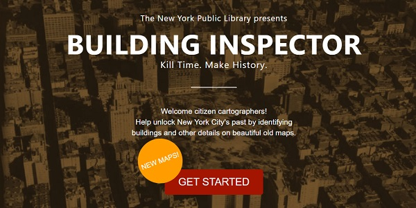 NYPL building inspector project landing page screenshot