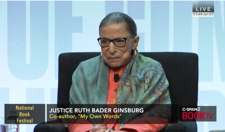 image of Ruth Bader Ginsburg on a television interview