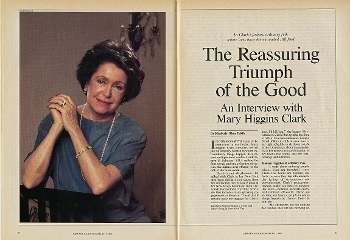 Opening Spread of 1990 LJ cover feature on Mary Higgins Clark