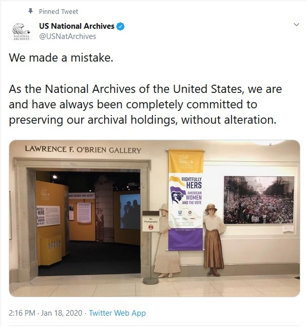 National Archives Doctors Women's March Photo, Apologizes