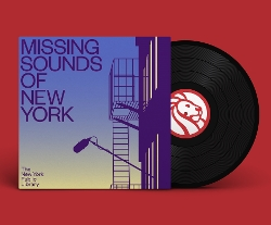 Missing Sounds of NY album cover with LP halfway out