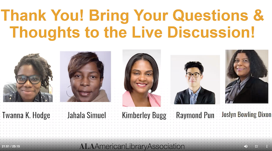 screen shot of participants in Antiracism in librarianship panel
