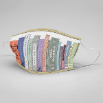 face mask with book pattern