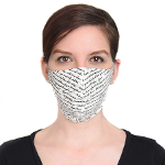 woman wearing face mask with words on it