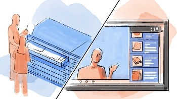 stylized drawing with image split diagonally, left side shows man and woman removing paper material from flat files, right side shows man on computer screen with same material presented as options at right side of screen