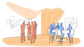 stylized drawing with one group of people standing and looking at images on wall, second group sitting around table looking at single image on wall