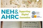 Text: NEH and ARC supporting digital innovation, with map and antique book images