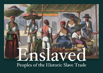 illustration of 7 black people under covered area in market, text overlay