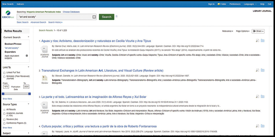 EBSCO Hispanic American Periodicals Index | Reference eReviews
