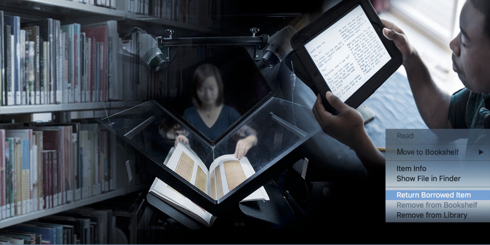 image from Controlled Digital Lending website homepage of woman digitizing print book and man using a dedicated ereader. Creative Commons License