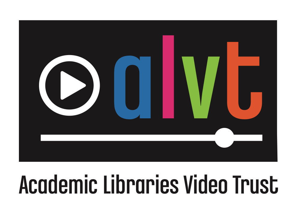 Academic Libraries Video Trust logo: audiovisual 'play' symbol with arrow in circle followed by lowercase letters a l v t