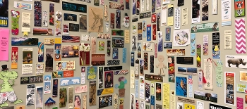 various bookmarks displayed on wall