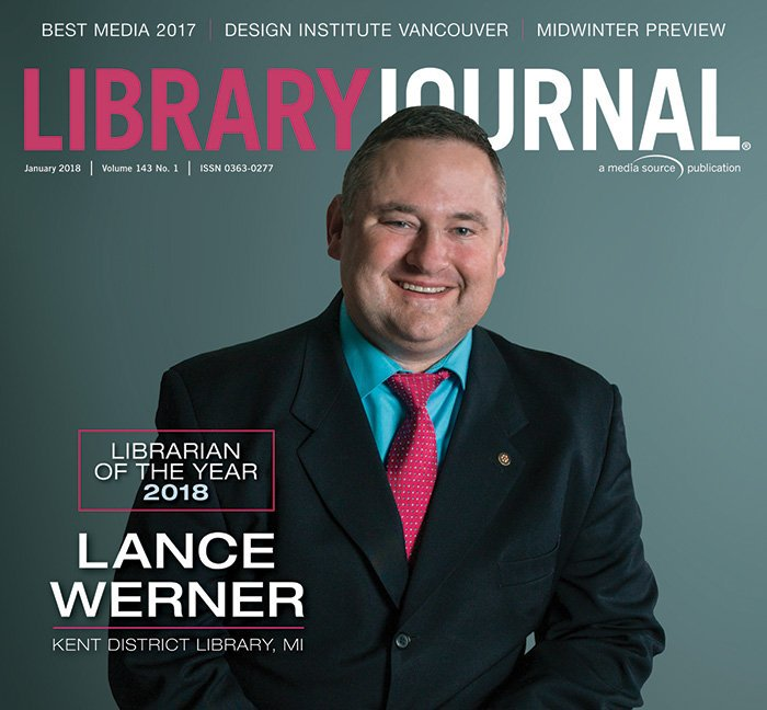 Librarian of the Year Lance Werner photo portrait. Cover of Library Journal magazine, January 2018