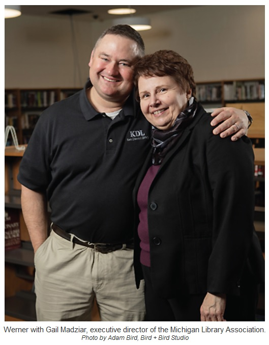 Werner with Gail Madziar, executive director of the Michigan Library Association. Photo by Adam Bird, Bird + Bird Studio