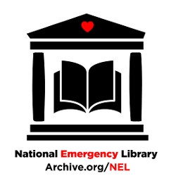 National Emergency Library logo (two pillars supporting a slanted roof with an open book inside)