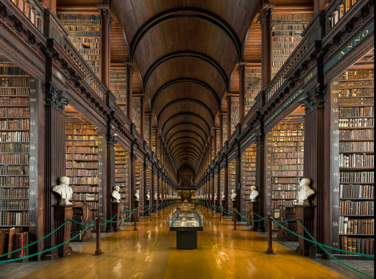 Interior photo of Library at Trinity College in Dublin